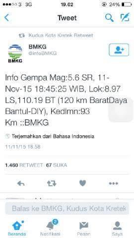 Gempa Bantul Getarannya di Rasakan Hingga Demak dan Jepara