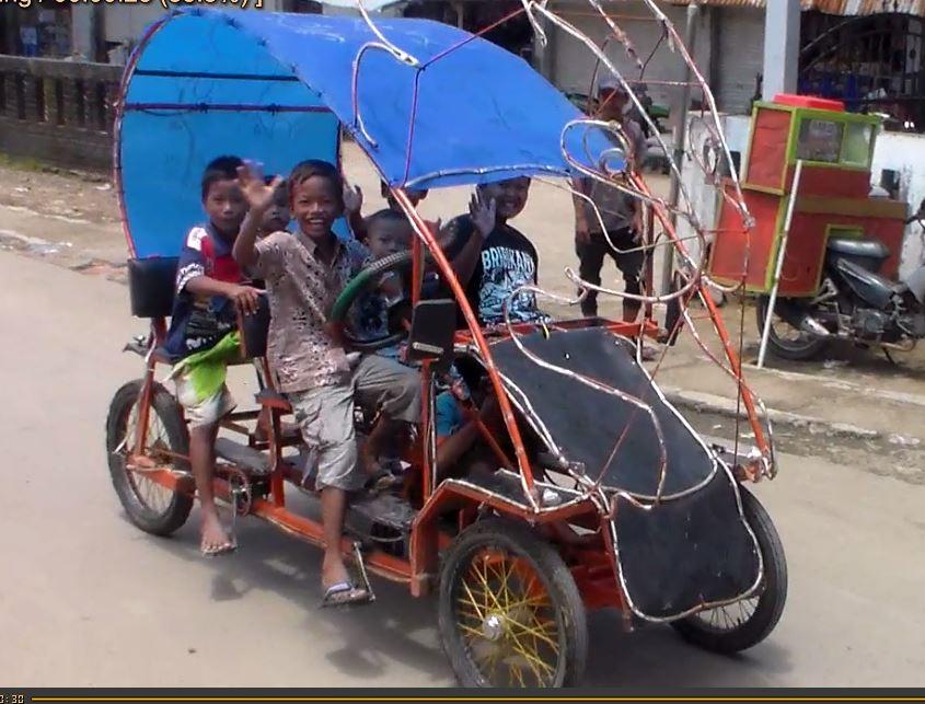 Bisnis Baru Di Desa , Sewakan Odong Odong Onthel Hasilnya Luar Biasa