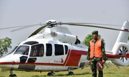 Pelda Rohmanto Batiops Kodim 0716/Demak ,  Lihai  Parkirkan Helikopter di Lapangan Terbuka