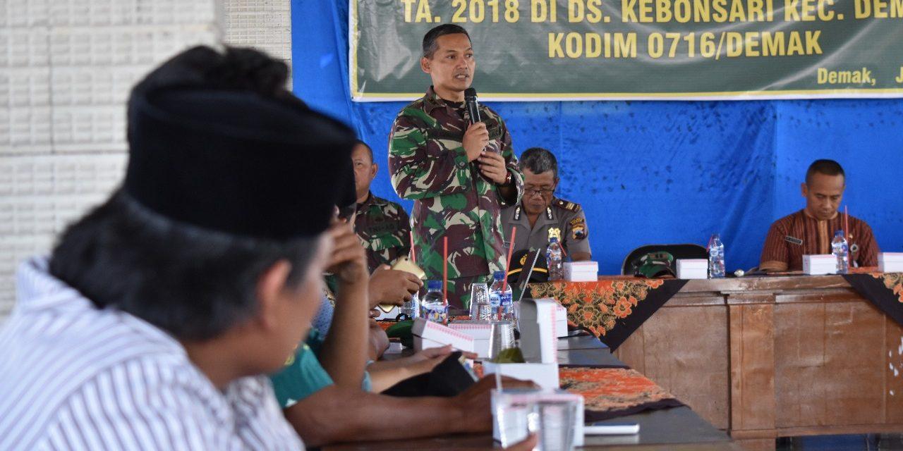 Sosialisasi TMMD Sengkuyung Tahap II 2018    Kodim 0716 / Demak  Di Desa Kebonsari  Dempat