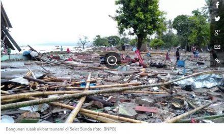 Sampai Sore ini  Korban  222 Orang Meninggal Akibat Tsunami Selat Sunda