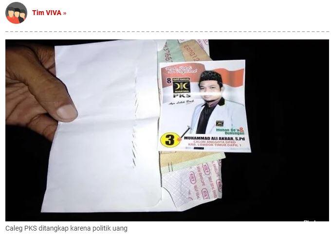 Waduh  , Caleg PKS di Lombok Timur Terjaring OTT Politik Uang