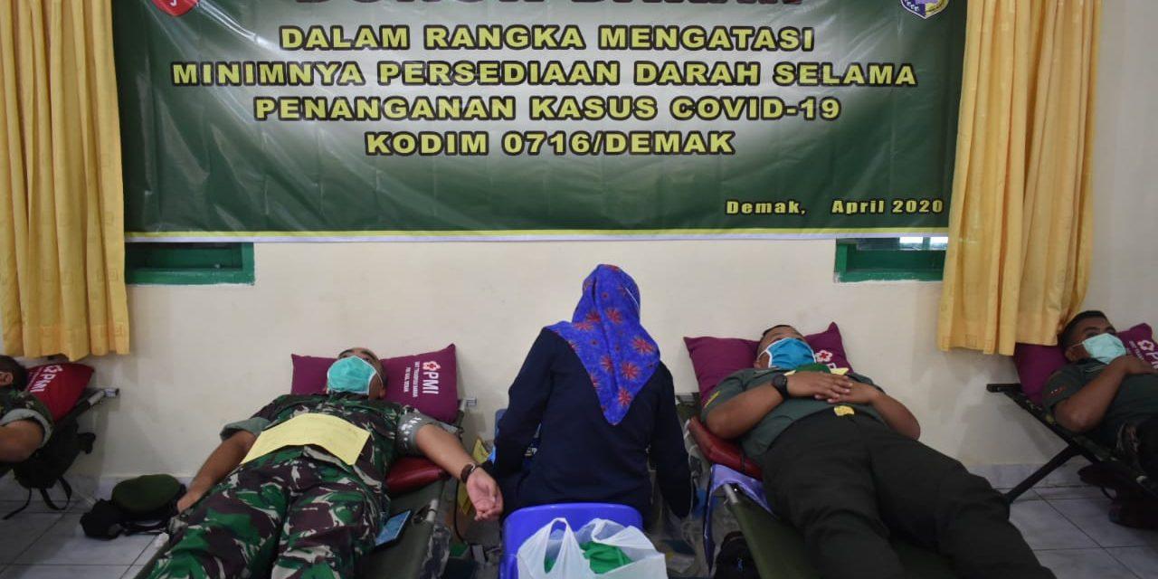 Antisipasi Minimnya Persediaan Darah Selama Penanganan Covid-19, Kodim 0716/Demak Gelar Donor Darah