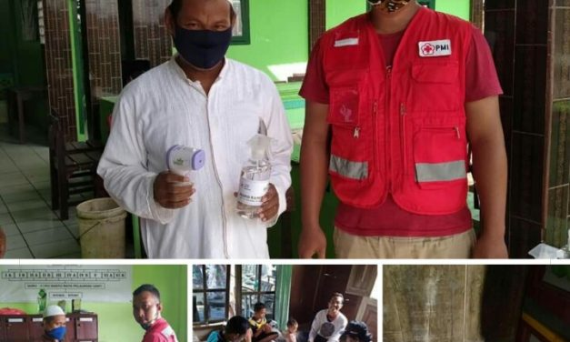 Sibat PMI Kedungmutih Demak, Donasikan Masker ,Termo Gun Dan Hand Sanitizer ke Madrasah Diniyah