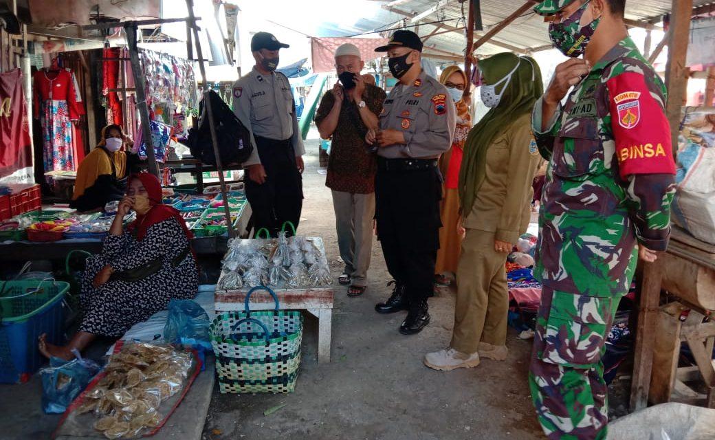 Tim Gabungan Laksanakan Patroli Pendisiplinan Protokoler Kesehatan Di Pasar Guntur