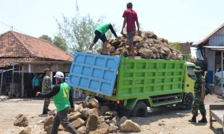 Pengerjaan Talud di Bedono Serbuan Korem Makutarama dan Kodim Demak Terus Di Kebut