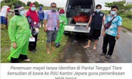 Pemulung Temukan Mayat Tanpa Identitas di Pantai Tanggul Tlare Jepara