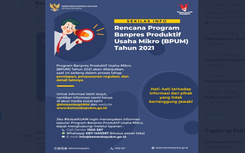 Ini Syarat Daftar BPUM 2021, Bisa Cair Lewat BPD dan PT Pos Indonesia