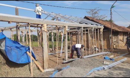 Warga Desa Gerdu Jepara , Bangun Kembali Kandang Kerbau Yang Terbakar